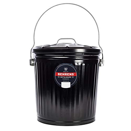 Behrens B907P Galvanized Steel Wood Stove and Fireplace Ash Can, 7 1/2 Gallon