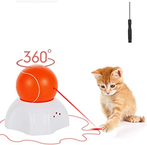 Interactive Cat Toy - Moving Laser Ball Interactive Toys for Indoor Cats - Automatic Cat Toy with 360-Degree Rotating Light - Automated Electronic Kitty Exercise Hunting Toys - 3 Speed Modes