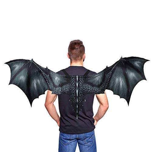 Kids Fantasy Halloween Dinosaurio Dragon Costume Child Animal Mask Wing Tail Accessory (Black)