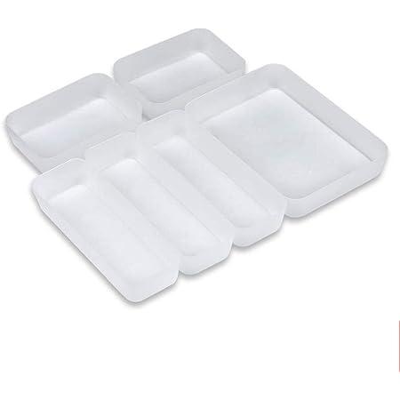 Towinle Organiseur de Tiroir Transparent pour la Cuisine Bureau Placard Cosmétiques Organisateur de Rangement avec 6 Compartiments Séparés