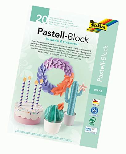 folia 678 - Pastell Block mit je 10 Blatt Tonpapier und Fotokarton, DIN A4, farbig sortiert - die ideale Grundlage für vielfältige Bastelarbeiten
