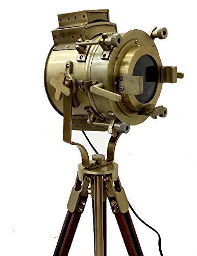Klassische Designer Marine Dreibein Stehlampe Hollywood Style Nautical Home Deko Vintage Theater Holz Spotlight [Low Stehlampe]