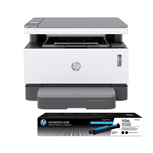 HP Neverstop All-in-One Laser Printer 1202w   Wireless Laser with Cartridge-Free Monochrome-Toner-Tank (5HG92A) with-Toner Reload-Kit 2-Pack