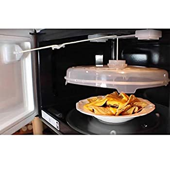 NewFerU Automatic Microwave Plate Cover Magnetic Adjustable String Food Splatter Guard with Vents Self Opening Hover Dish Spatter Lid Attached to Door 12 Inch BPA Free Plastic Dishwasher Safe  1