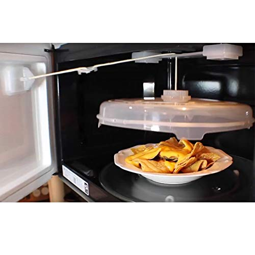 NewFerU Automatic Microwave Plate Cover Magnetic, Adjustable String Food Splatter Guard with Vents, Self Opening Hover Dish Spatter Lid Attached to Door 12 Inch, BPA Free Plastic, Dishwasher Safe (1)
