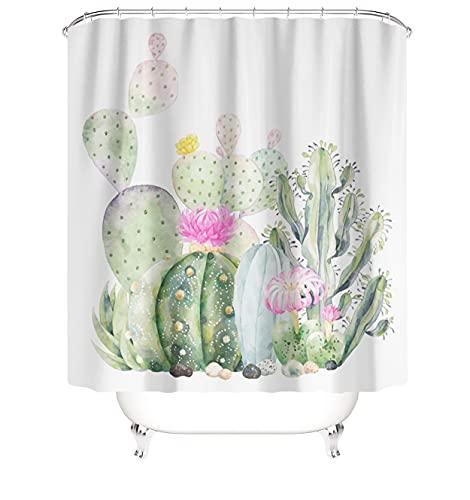 MundW DAS DESIGN Duschvorhang grün Kaktus pink Blumen Malerei Pflanzen Textil Vorhang Schimmel Resistent Stoff waschbar Mexikanisch tropisch Shower Curtain inkl. 12 C-Ringe Gewicht unten 180x200(BxH) cm