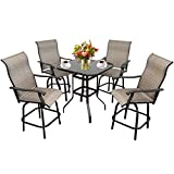 5-Piece Outdoor Swivel Bar Height Dinning Set - Metal High Top Patio Bar Chairs Set of 4 & 1 Table for Bistro, Lawn, Backyard (5)