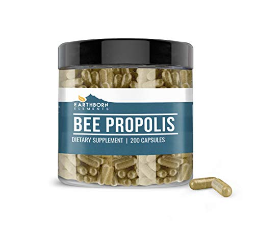Earthborn Elements Bee Propolis (200 Capsules) 100% Pure & Natural, Gluten-Free & Non-GMO (800 mg Serving)