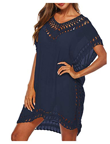 Wander Agio Womens Swimwear Cover up Swim Suit Beach Bikini Coverups Stripe Printing Hollow Out Navy Blue