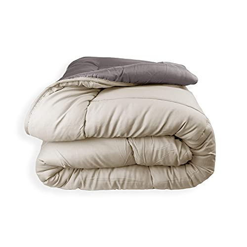 Acomoda Textil - Edredón Nórdico Reversible. Relleno Nórdico Microfibra 250 gr/m². Edredón Bicolor Cálido y Ligero de Invierno. (Avellana/Beige, 180x260)