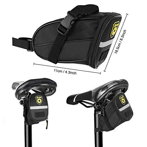 LINGSFIRE 28 Pcs Bike Repair Kit, Saddle Bag bicycle Repair Kit with Mini 16 in 1 Multi-Function Tool, Patch Set Tyre Levers Bike Tool Kit Set for Bicycle MTB Mountain Bike Cycle (with Saddle Bag)