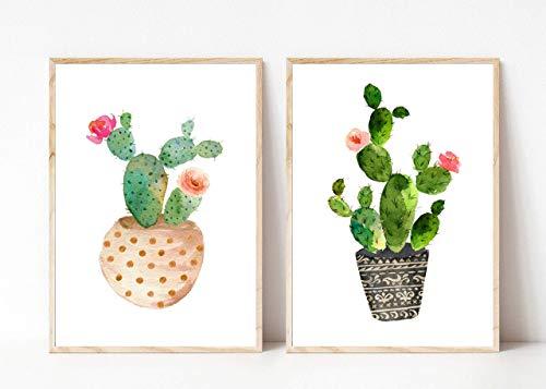 Din A4 Kunstdruck 2-teilig ungerahmt - Kaktus mit Blüten Aquarell Natur Topfpflanze pink, Gemälde, Deko, Geschenk Druck Poster Bild
