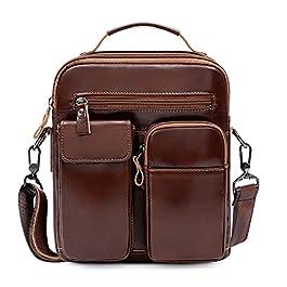 VINBAGGE Sac à Bandoulière pour Hommes,Sacoche Homme Cuir Véritable Sacs Business Vintage Pochettes Sac à Main Besace…