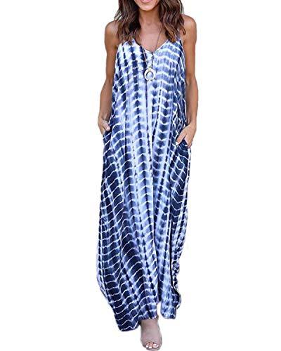 Kidsform Damen Sommerkleider Blumen Maxi Kleid Ärmellos Abendkleid Strandkleid Party Chiffon Lange Kleid D-blau M