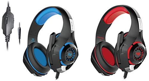 Kotion Each GS410 Headphones with Mic and for PS4, Xbox One, Laptop, PC, iPhone and Android Phones&Cosmic Byte GS410 Headphones with Mic (Black/Red)