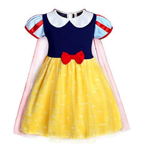 Jurebecia Disfraz de Blancanieves Vestidos de cumpleaños para niña de Halloween Cosplay Role Play Dress Up Disfraz de Fiesta Elegante Vestidos de Princesa Amarillo