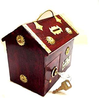 Unique Arts Wooden red Handle hut Piggy Bank