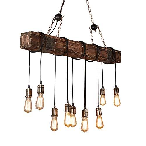 Martll Pendelleuchte Vintage Pendellampe Retro Industrial Kronleuchter Holz Höhenverstellbar E27 Hängelampe Hängeleuchte Lampe für Esstisch Küche Wohnzimmer Bar Cafe (10 flammig)