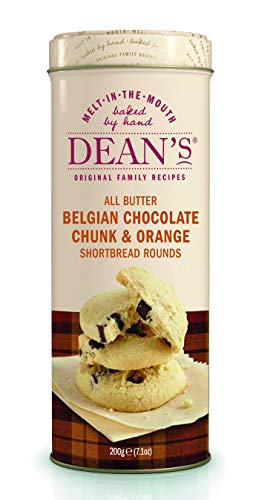 Dean's Shortbread, All Butter Belgian Chocolate Chunk & Orange Shortbread Rounds Tin Tube, 7.1 Ounce