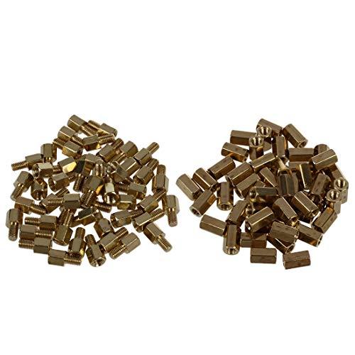 WOVELOT 50 Stück Messing-Schraube PCB Abstandshalter M3 männlich x M3 weiblich 5 mm & 50 Stück Metall Sechskant M3 weiblich Schraube PCB Abstandshalter 8 mm Körper