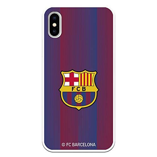 Funda para iPhone X - XS Oficial del FC Barcelona - Escudo Franjas para Proteger tu móvil. Carcasa para iPhone de Silicona Flexible con Licencia Oficial de FC Barcelona