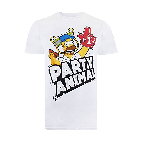 The Simpsons Party Time Camiseta, Blanco, S para Hombre
