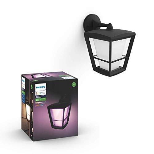 Philips Hue White and Color Ambiance Econic Lampada Lanterna da Parete Per Esterni (Down), Led Integrato, Nero