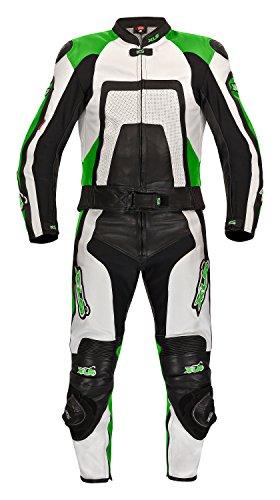 XLS Tuta da moto in pelle di alta qualità, in due pezzi, verde Kawa, taglie 48 50 52 54 56 58 60 62 64 66