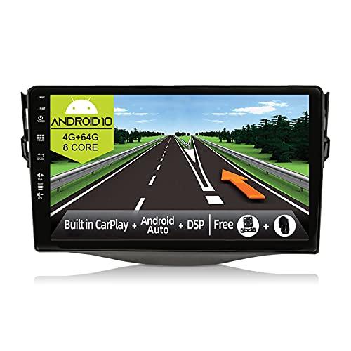 JOYX Android 10 Autoradio Compatibile Toyota RAV4 (2007-2012)- [4G+64G] - Built-in DSP/Carplay/Android Auto - LED Camera MIC GRATUITI - Supporto BT5.0 DAB Volante 4G WiFi 360-Camera - 9 Pollici 2 Din