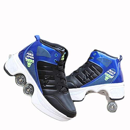 N / A Rollschuh Roller Skates Lauflernschuhe,Sneakers,2in1 Mehrzweckschuhe Schuhe mit Rollen Skateboardschuhe,Inline-Skate,Verstellbare Quad-Rollschuh Stiefel Skateboardschuhe,41,Blue Black