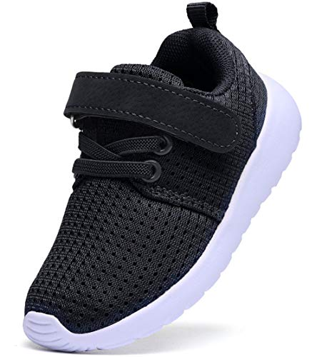 DADAWEN Baby Boys Girls Lightweight Breathable Strap Sneakers Casual Athletic Running Shoes Black US Size 7 M Toddler