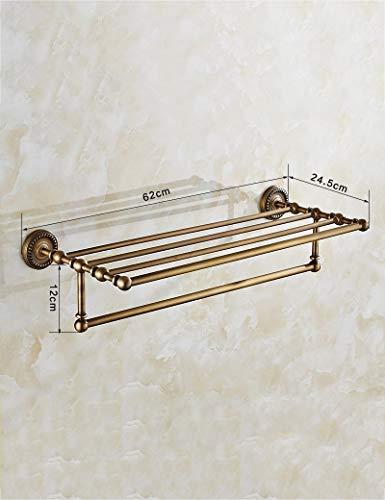 JIN Durable Storage Rack Haushalts Badezimmer Regal Dusche Regal Europäischen Stil Handtuchwärmer Alle Bronze-Spiegel Frontrahmen Badezimmer Racks Badezimmer Hanging Rod Badezimmer Hardware-Anhänger