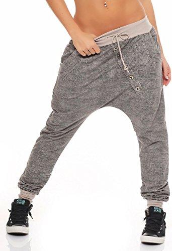 Malito Damen Jogginghose mit Knopfleiste | Sporthose meliert | Baggy zum Tanzen | Sweatpants - Trainingshose 7398 (beige)