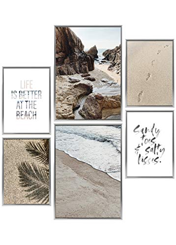 Heimlich® Premium Poster Set | Stilvolles Set mit passenden Bilder als Wohnzimmer Deko | 2 x DIN A3 & 4 x DIN A4 - ca. 30x42 & 21x30 | Bilderrahmen Aluminium Silber » Beach Time «