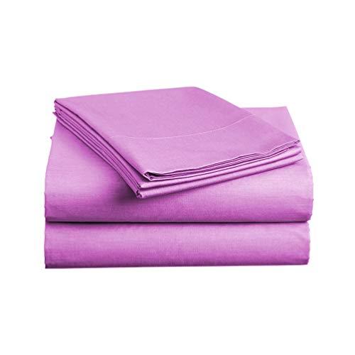 Luxe Bedding Sets - Microfiber Full Sheet Set 4 Piece Bed Sheets, Pillow Cases, Flat Sheet, Deep Pocket Fitted Sheet Set Full Size - Purple