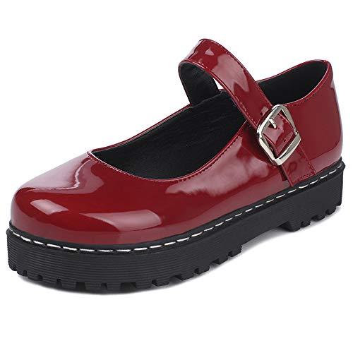 Garggi Mary Jane Zapatos Comodo Mujer Mujer Punta Redonda Correa De Tobillo Pump Moda Tacón Medio Pump Prom Zapatos Plataforma Pump Rojo Talla 38 Asiática