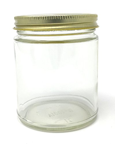 9 oz Straight Sided Glass Jar with Gold Metal Continuous Thread Lid by Richards Packaging 12-pack