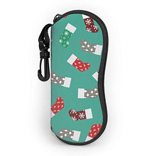 Funda suave para gafas de sol, ligera, portátil, impresión 3D, calcetín de Navidad con diseño de copo de nieve con cremallera y clip para cinturón para hombre y mujer