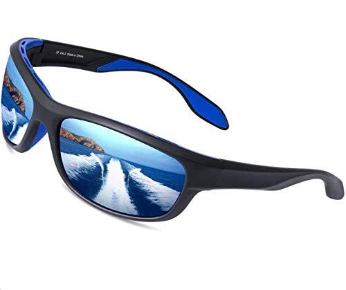 Elegear Gafas de Sol Hombre Polarizadas Gafas deportivas Súper Ligero y Cómodo Anti UVA UV Marco TR90 Lente Espejo con REVO Gafas hombre y mujer Ciclismo MTB Running Coche Moto Montaña-Gafas Azules