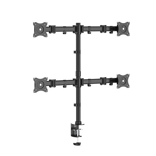 Quad 4 Fach Tischhalterung für LED und LCD Monitore bis 27 Zoll VESA 75x75 100x100 HALTERUNGSPROFI OFFICE-148Q (4 Monitore)