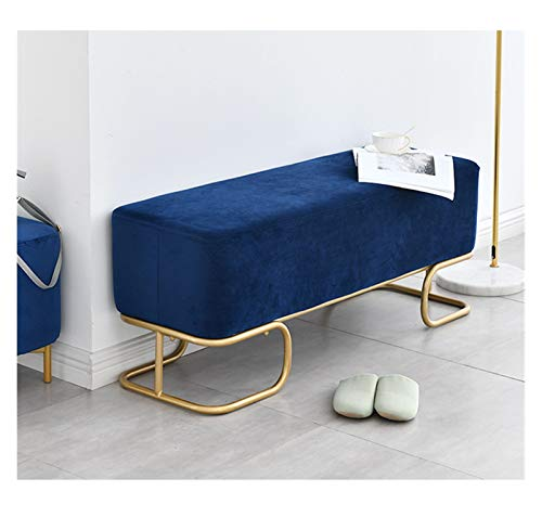 RKRXDH Hallway Bedroom Upholstered Bed End Stool Nordic Modern Leather Ottoman Storage Bench Footstool Window Seat Bench Bed End Stool For Living Room (Color : Blue, Size : 120x40x42.5cm)