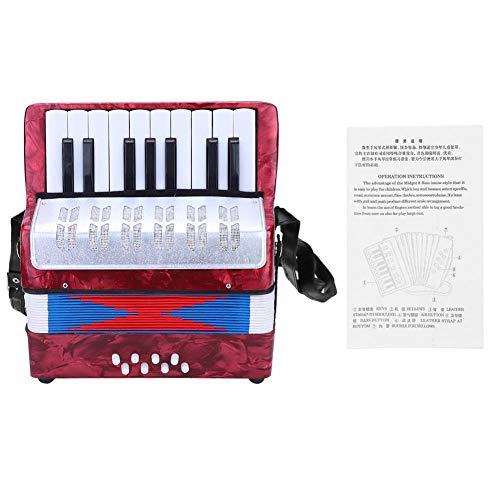 Fisarmonica per bambini, fisarmonica a 17 tasti per fisarmonica a 8 bassi con cinturino regolabile, strumento musicale educativo per fisarmonica per studenti principianti(rosso)