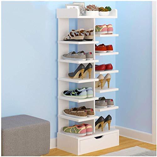 HLL Zapatero para el hogar, económico, a prueba de polvo, gabinete para zapatos, multicapa, puerta que ahorra espacio, zapatero, estante para zapatos, estante de gran capacidad,Blanco