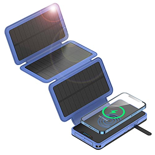 Solar Portable Charger 20000mAh, Anyzoo Solar Power Bank with 3 Foldable 4.5W Solar Panels, Qi Wireless Charger Battery Pack, Dual Output Ports LED Flashlight IP66 Waterproof External Battery Pack