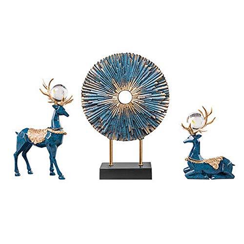 Adornos para estatuas Esculturas Estatuilla Adornos para estatuas de Animales Figuras de Ciervos de Color Azul Miniaturas Ciervos de Resina Sala de Estar Dormitorio Gabinete de Vino Adornos