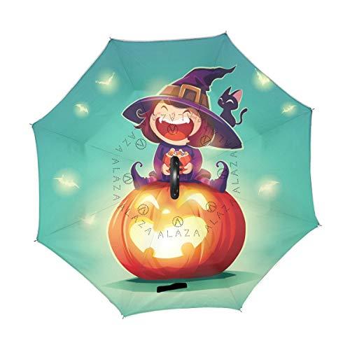Happy Halloween Kürbis-Schamanen-Regenschirm, freistehend, doppelschichtig, UV-Doppellagig, Winddicht, mit C-förmigem Griff, innen außen, für Herren und Damen