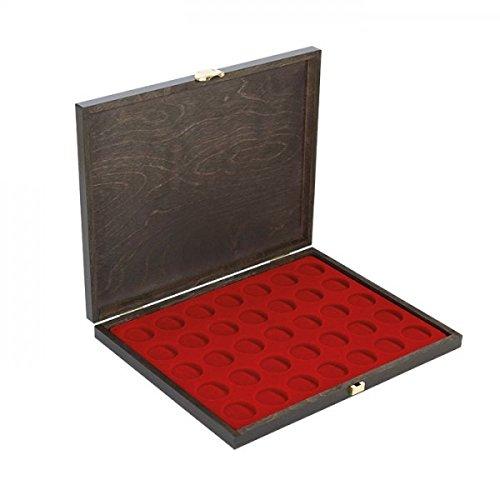 LINDNER Echtholz-Münzkassette Carus-1 mit Einer dunkelroten Münzeinlage für Münzen mit Ø 32,5 mm, z.B. für deutsche 20 Euro- BZW. 10 Euro-Silbermünzen