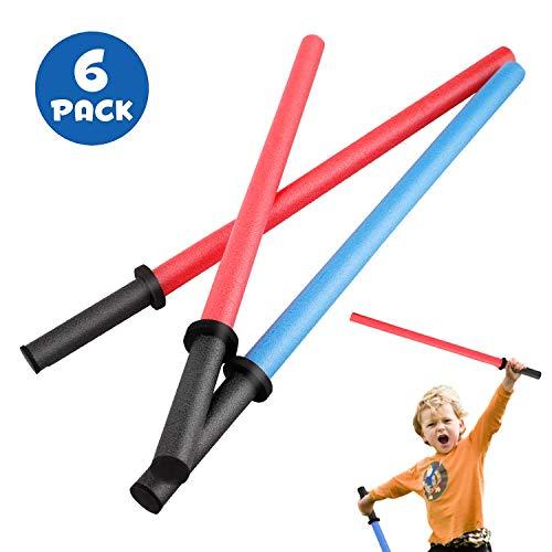 Set of 6 Pool Noodles Foam Light Sabre Toy Swords - Kids Bulk Party Favors - Ideal for Pools,...