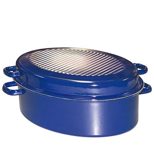RIESS de ganso de horno, horno, con forma ovalada y tapa, diámetro de 38 cm, altura: 17 cm, colour azul