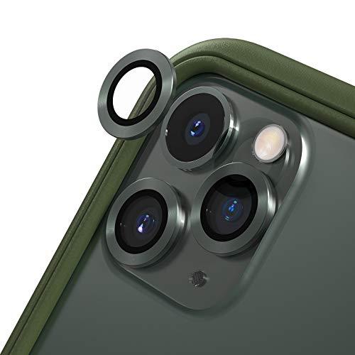 RhinoShield iPhone 11 Pro / 11 Pro Max カメラレンズプロテクター[3個入り] | 9H 強化ガラス 高い透明度 傷を防ぐ - ミッドナイトグリーン